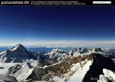エベレスト山頂からの 360度のパノラマ画像