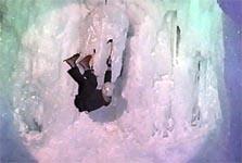 ICE CLIMBING COMPETITION 層雲峡 フィギュア8 を決める招待選手。