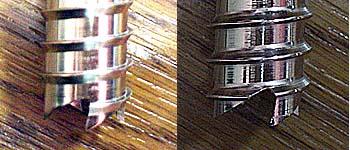 スクリューのねじ山拡大図 / 左が BD で右が Grivel