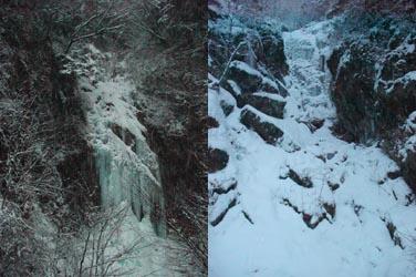 左がガンガノ沢 F1(錦の滝) 右が岩間(ガンマ) ルンゼ F1