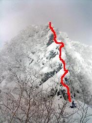 五段ノ宮の登攀ライン