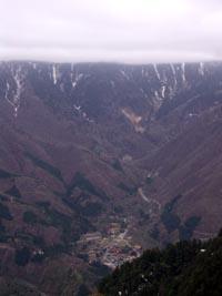 新穂高温泉 穂高連峰は雲の中