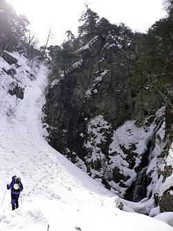 金時の滝は左のルンゼから