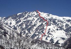白馬岳 赤線が主稜